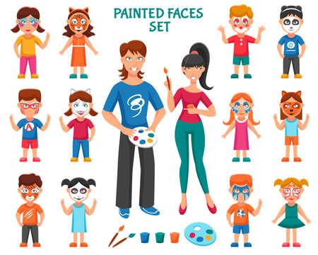Face Paint For Children Icons Set. Bodyart Paint Vector Illustration. Face Paint Decorative Set. Greasepaint For Children Design Set. Painted Faces Flat Isolated Set.