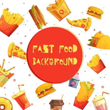 Fast food restaurant menu items decorative background or frame retro cartoon advertisement poster abstract vector illustration 向量圖像