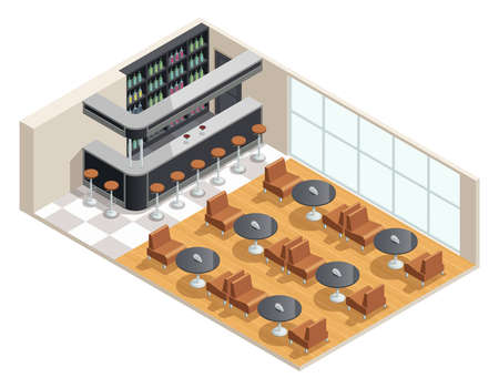 Color isometric design of cafe interior with bar table vector illustration