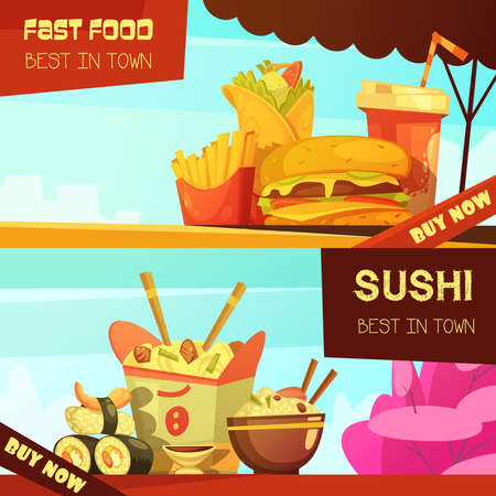 Town best fast food restaurant 2 horizontal advertisement banners set with sushi retro cartoon isolated vector illustration