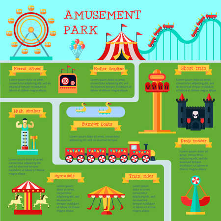 Amusement park infographic set with family fun symbols flat vector illustration