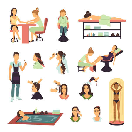 Male and female people having beauty procedures in spa salon set on white background flat isolated vector illustration