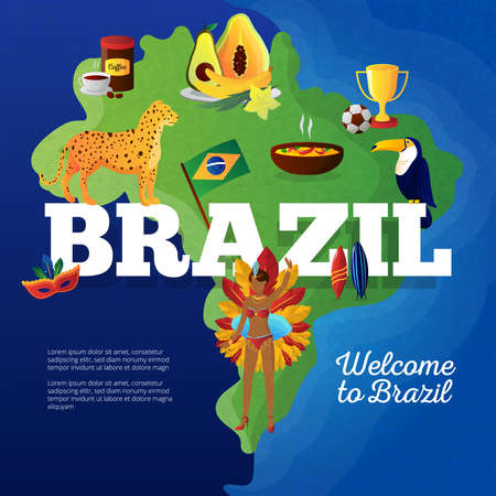Brasil cultural symbols map for travelers flat poster with toucan bird and football cup trophy abstract vector illustration