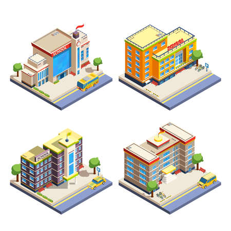 Modern many-storeyed school buildings with cars bicycles and school bus isometric icons set on white background isolated vector illustration Stock Illustratie