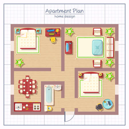 Home design top view with living room bedroom and bathroom flat vector illustration