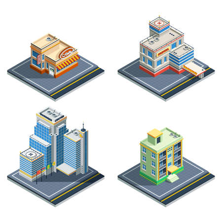 Building isometric isolated icon set with four types of ordinary city structures vector illustration