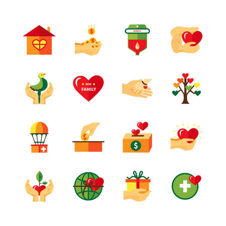 Non profit charity organizations symbols of fundraising donations and love flat icons collection abstract isolated vector illustrati Vector Illustration