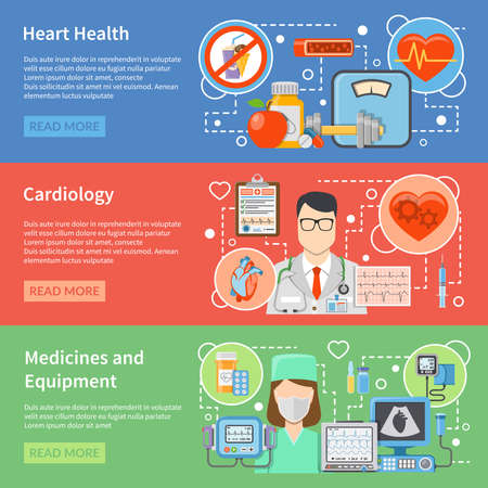 Horizontal cardiology flat banners with medicines and equipment for heart treatment and lifestyle for heart health isolated vector illustration