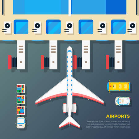 Airport apron planes airfield area with aircraft at jet bridge and ground srvice top view abstract vector illustration Ilustración de vector