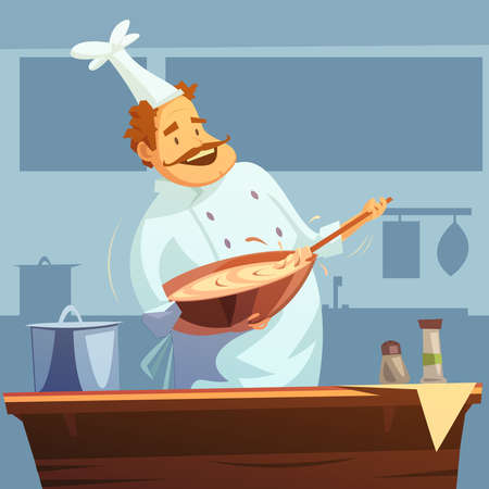 Cooking workshop with chef mixing ingredients  in a bowl cartoon vector illustration
