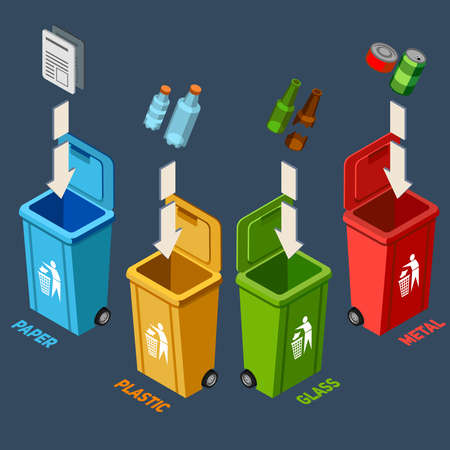 Waste management isometric concept with different colored recycle bins for garbage separation vector illustration