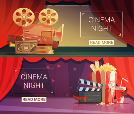 Cinema cartoon horizontal banners set with cinema night symbols isolated vector illustration