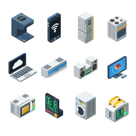 House appliances isometric isolated icon set for kitchen living room and bathroom vector illustration
