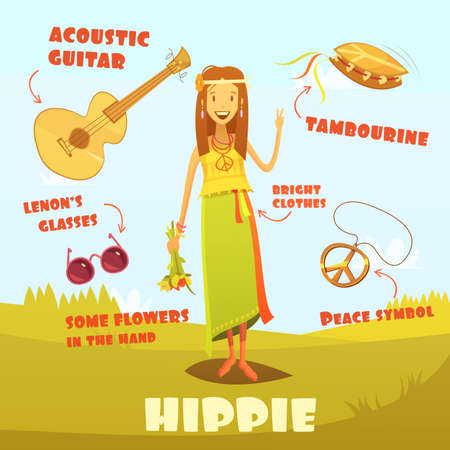 Hippie character cartoon set with acoustic guitar and tambourine vector illustration Ilustração