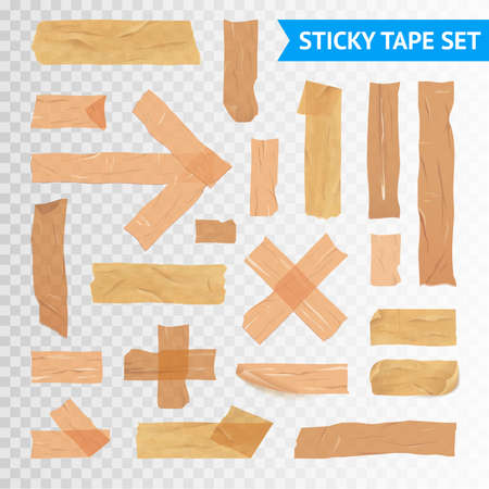 Adhesive sticky sealing tape strips various applications icons collection with transparent background realistic vector illustration