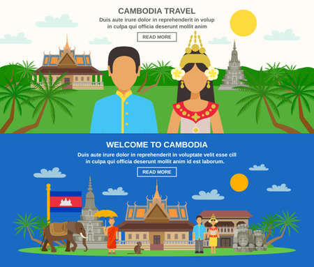 Cambodian traditions food and lifestyle information for travelers 3 flat horizontal banners set abstract isolated vector illustration