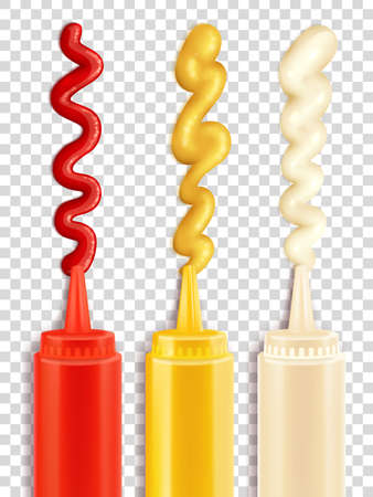 Color icons depicting sauce bottle with strips of seasoning vector iluustration
