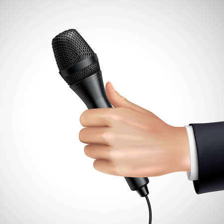 Hand with microphone realistic image detail poster with journalist or reporter at press conference interview vector illustration Ilustração