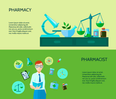 Two pharmacy banner describe pharmacist with manufacture of drugs and substances process vector illustration
