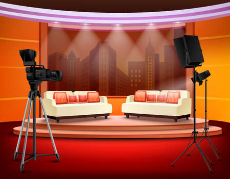 Talk show studio interior with comfortable sofas on pedestal filming equipment urban view in background vector illustration Vetores
