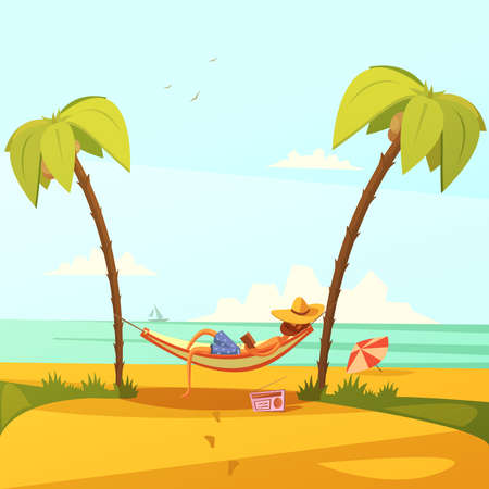 Man on the beach background with hammock hat radio and palms cartoon vector illustration