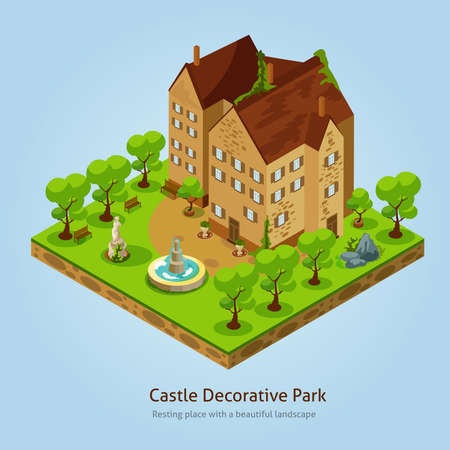 Isometric castle with decorative park landscape design concept vector illustration
