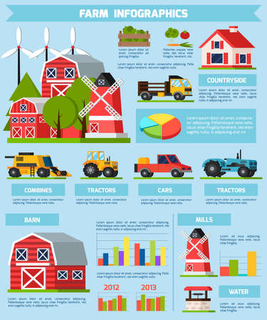 Farm orthogonal flat infographics presenting statistics and information about life and work in countryside and types of transport vector illustration