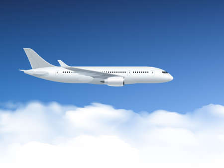 Airplane poster which flies at altitudes on a background of blue sky and clouds vector illustration