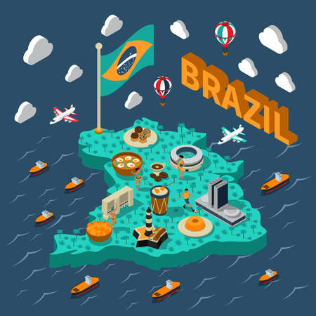 Brazil isometric map with touristic sights and transport on blue background vector illustration