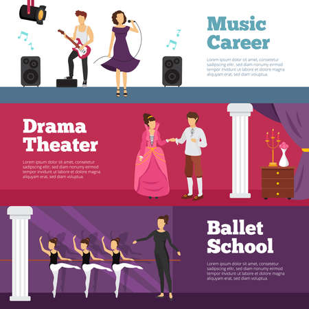Theatre people banners set with ballet school and music career flat isolated vector illustration