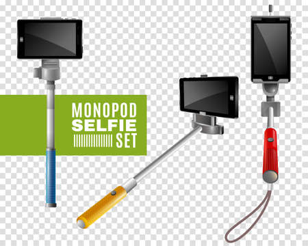 Colorful monopods with phones for selfie set isolated on transparent background realistic vector illustration