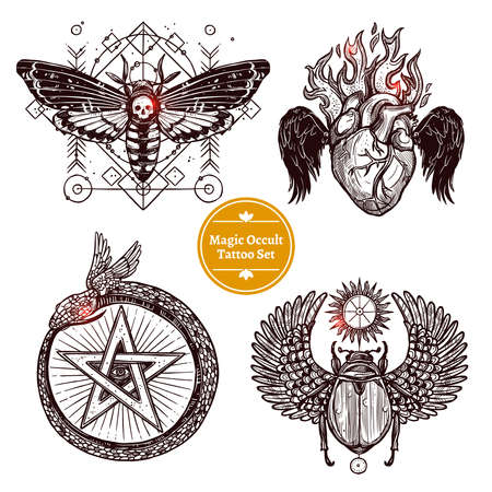 Occult Tattoo Sketch Concept. Occult Tattoo Hand Drawn Set. Magic Modern Tattoo Vector Illustration. Magic Occult Tattoo Symbols. Magic Occult Tattoo Design Set.