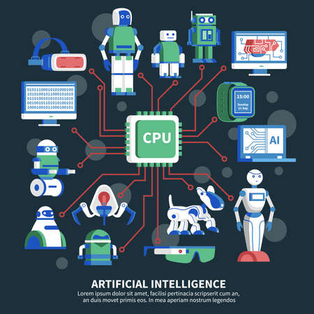 Artificial intelligence vector illustration on black background with cpu chip in center and robot images around