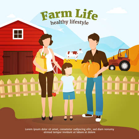 Leading healthy lifestyle family during autumn harvest time on farm flat vector illustration