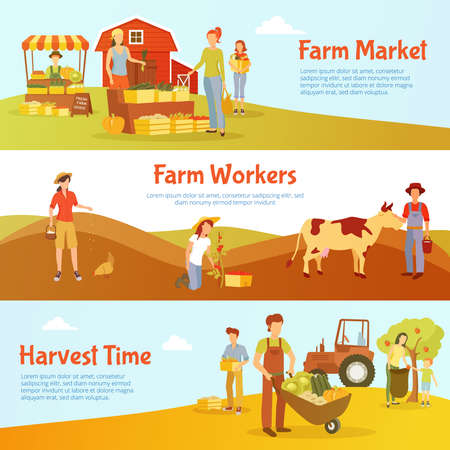 Flat design harvest time horizontal banners with farm market workers and cattle isolated vector illustration