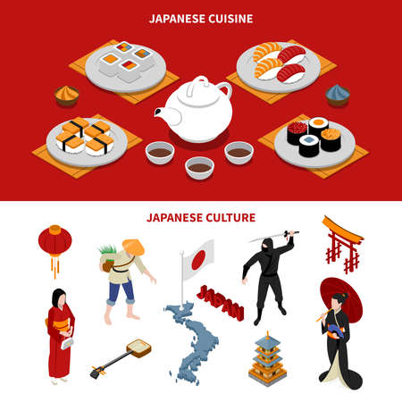 Horizontal japan touristic isometric banners with japanese national cuisine and various cultural elements on red and white backgrounds isometric isolated, vector, illustration