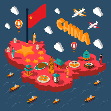 China touristic isometric map with colorful chinese culture elements on sea background vector illustration