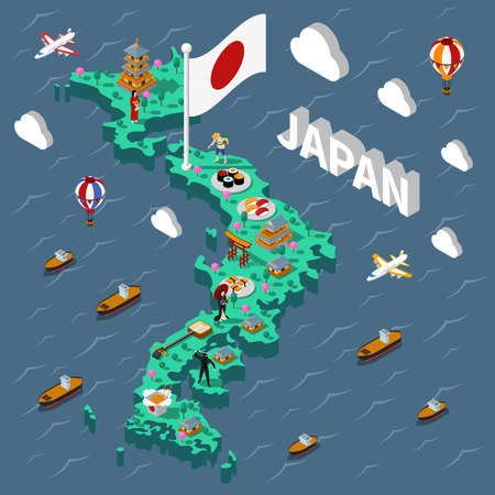 Japan touristic isometric map with various cultural elements on sea background vector illustration