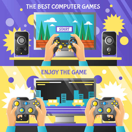 Game gadget horizontal banners with male hands holding gamepad and computer screen with simplified game level flat vector illustration