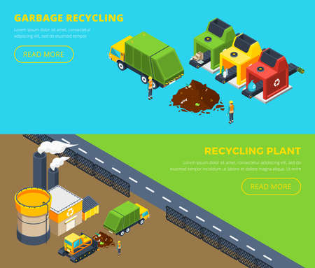 Horizontal isometric banners of garbage recycling with sorting lines and plant with factory territory and building vector illustration