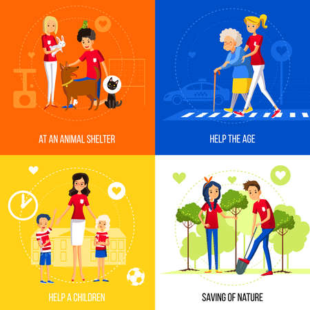 Caring and helping neighbors as a socially active lifestyle flat  vector illustration  イラスト・ベクター素材