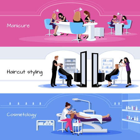 Beauty salon service horizontal banners with customers and workers in different situations in flat style isolated vector illustration