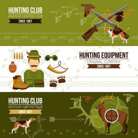 Hunting horizontal banners with hunter boots horn binoculars guns grenade bullets and animals vector illustration