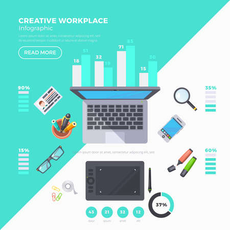 Workplace objects infographic set with percentage and statistics flat vector illustration