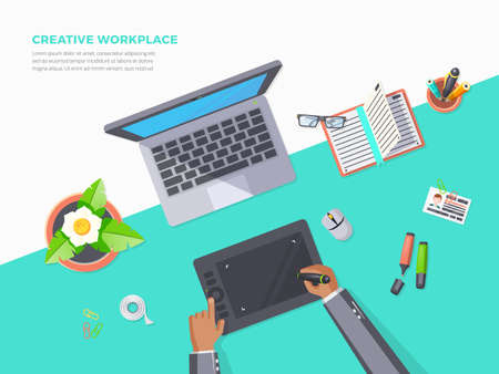 Flat poster of top view creative workplace office with notebook graphics tablet plant and stationery vector illustration
