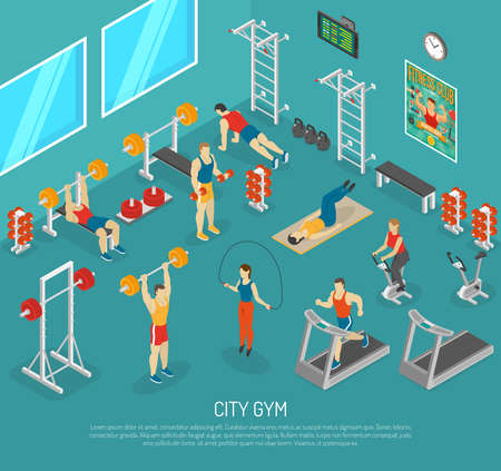 City fitness workout gym center with equipment for strength and cardio exercises isomeric poster abstract vector illustration Vecteurs