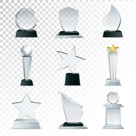 Modern glass cup trophies and challenge prizes side view realistic icons collection against transparent background isolated vector illustration Vecteurs