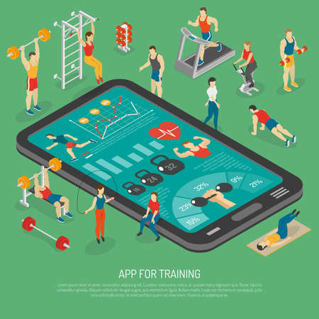 Best fitness training with smart phone accessories apps to stay in shape isometric poster abstract vector illustration