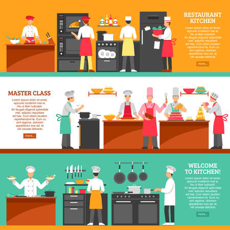 Professional cooking horizontal banners set with restaurant kitchen and master class compositions flat vector illustration