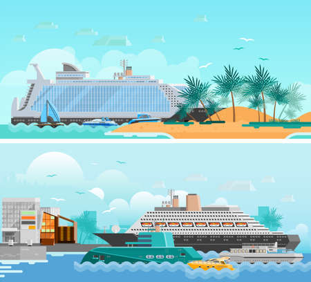 Cruise vacation flat horizontal banners set with passenger liners south beach modern hotels and sailboats vector illustration